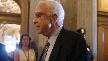 Senator John McCain arrives on Capitol Hill in Washington.