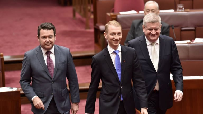 Victorian Liberal Senator James Paterson, , centre, being sworn in.