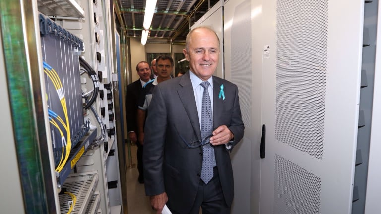 Malcolm Turnbull tours the NBN racks in the Queanbeyan Telstra exchange.