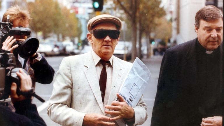Paedophile priest Gerald Ridsdale outside court in 1993.