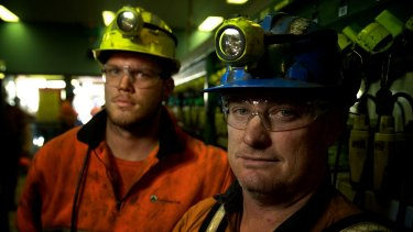 Springvale mine workers, Adam Powell  (left) and Darrin Francis, in a photo taken in June 2015 when the mine's future  hung in the balance.