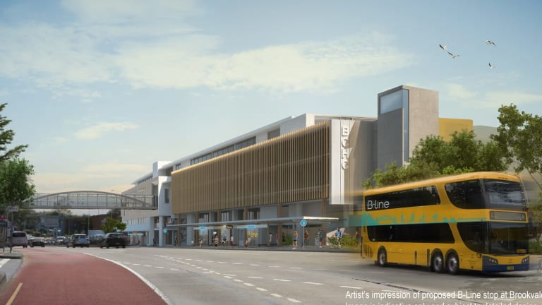An artist's impression shows a new B-Line style bus driving past a new stop at Brookvale.