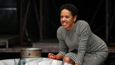 Sara Zwangobani as Antony grieves over Caesar's body.