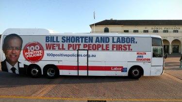 The Shorten campaign bus arrives at the Bondi Pavillion.