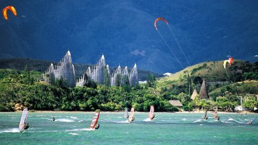 Kite surfers in New Caledonia.
