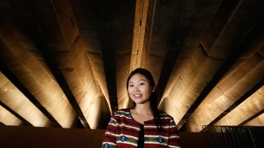 Sydney University student, Amara Kruaval, 23, has researched the use of ultrasonic pulse velocity as a non invasive way to test the health of the Opera House's concrete structure.