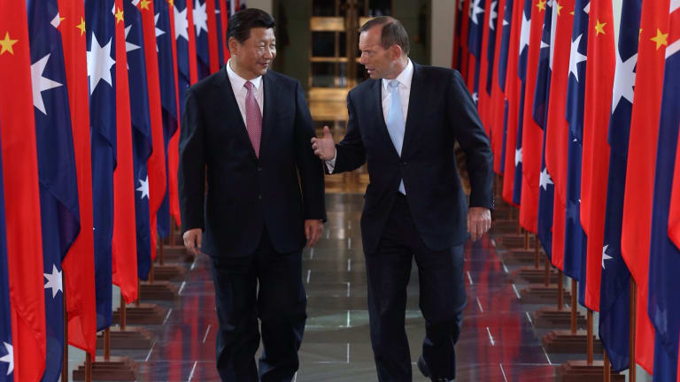 Prime Minister Tony Abbott and Chinese President Xi Jinping at Parliament House in Canberra.