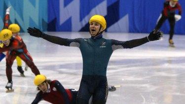 Stunning win: Steven Bradbury at the 2002 Olympics.