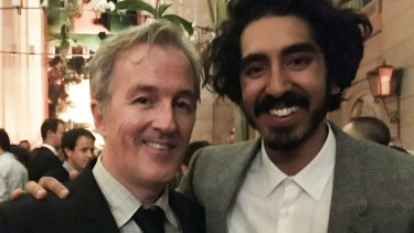 Lion screenwriter Luke Davies with Dev Patel, who played Saroo Brierley in the film.
