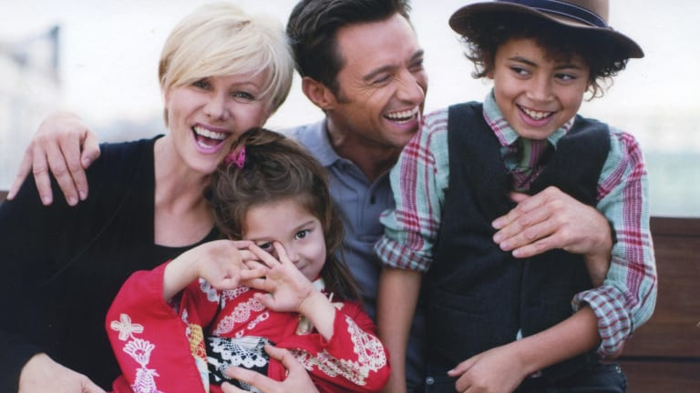 Hugh Jackman with his wife  Deborra-Lee Furness and their children Ava and Oscar.