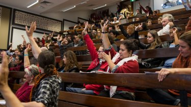 """Students and Academics at a """"Defend Civil Liberties at University"""" at the University of Sydney pass a motion demanding all charges be dropped against the protesters."""