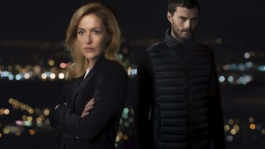 Gillian Anderson as Stella Gibson and Jamie Dornan as Paul Spector in <i>The Fall</i>.
