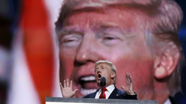 Republican presidential candidate Donald Trump speaks during the final day of the Republican National Convention in Cleveland.