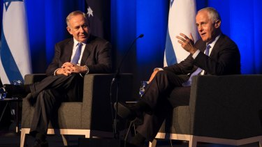 Benjamin Netanyahu and Malcolm Turnbull at the International Convention Centre in Sydney on Wednesday.