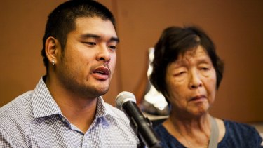 Michael Chan and his  mother Helen talk to the media about Andrew Chan.