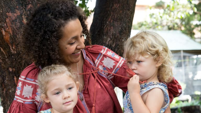Kirsty Rutherford with her daughters, Olive, 4, and Mabel, 2, who attend the Clovelly Child Care Centre.