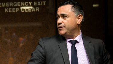 NSW Deputy Premier John Barilaro after a press conference where Premier Mike Baird announced his resignation in Sydney.