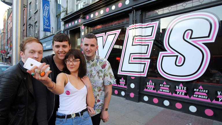 Yes to a selfie: A poll shows 70 per cent of Irish voters favour the change.