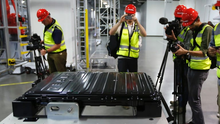 A Tesla lithium-ion battery pack at Tesla's Gigafactory in Sparks, Nevada.