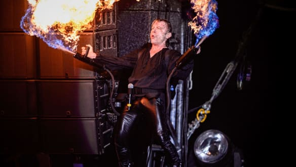 Fired up: Bruce Dickinson loves the flamethrower stunt in his latest tour.