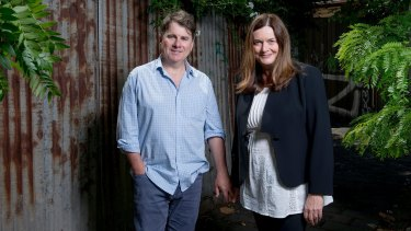 Playwright Hannie Rayson with her husband, Radio National presenter Michael Cathcart.