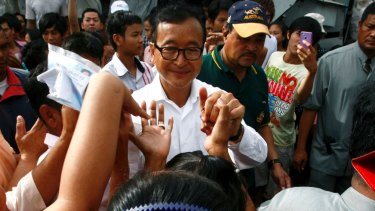 Cambodia's opposition leader Sam Rainsy, pictured in Phnom Penh in 2013.