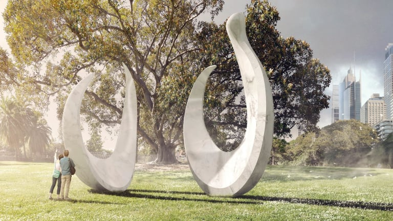 An artist's impression of the artwork bara that will be installed in the Domain.
