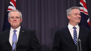 Treasurer Scott Morrison with Finance Minister Mathias Cormann at the release of the MYEFO in December.