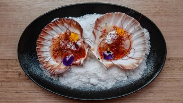 Scallops with coconut, chilli and lime.