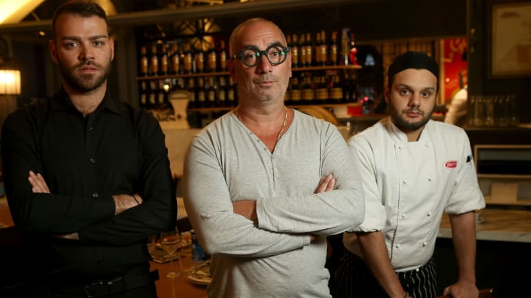 Restaurant owner Tony Cannata, with 457 visa employees Luigi Conticelli (left) and Nicola Chiocca.