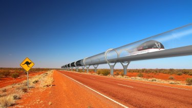 An artist's impression of the Hyperloop, which its developers claim could travel between Melbourne and Sydney in under an hour.
