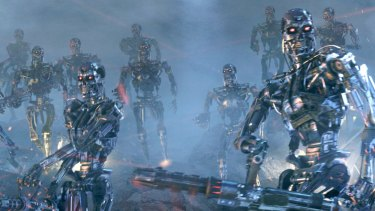 A scene from <i>Terminator 3: Rise of the Machines</i>, in which artificial intelligence successfully provokes a war of mass destruction.