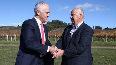 Prime Minister Malcolm Turnbull met with Josef Chromy, who fled his war-torn Czech village in 1950 for Australia, at his winery near Launceston on Friday.