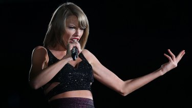 Taylor Swift performs during her 1989 World Tour in Melbourne, Australia.