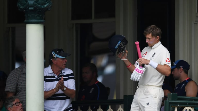 Digging deep: Joe Root returns to the pitch after retiring injured.