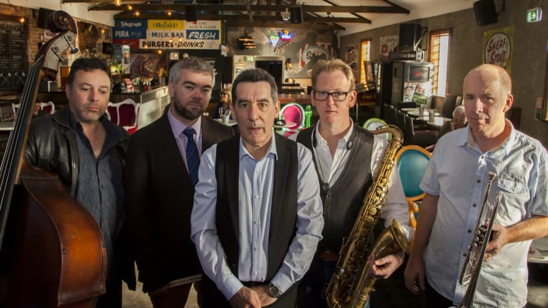 "The Unity Hall Jazz Band: (from left) Stan Valakos, Anthony Howe, Gary Walford, Ben Jones, Al (""Red"") Davey."