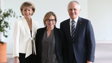 Senator Michaelia Cash with Rosie Batty and Communications Minister Malcolm Turnbull at Parliament House in Canberra after a press conference on violence against women on Monday.