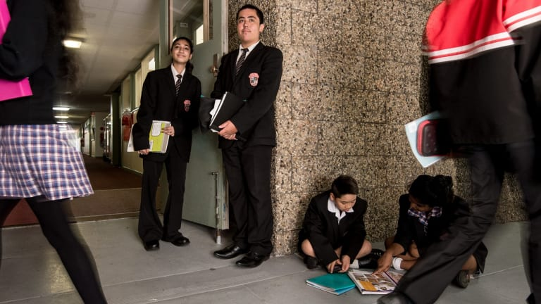 Poor school: Government funding is up six per cent at Noble Park Secondary College. Junior school captains (from left) Laiba, Bryce, Huy and Kavika.