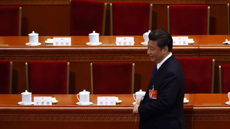 Chinese President Xi Jinping after a closing session of the 12th National People's Congress (NPC) at the Great Hall of the People in Beijing in March.
