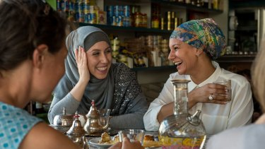 Amina Sadikay and Hebba El Masri at the Moroccan Deli-cacy cafe, taking part in Speed Date a Muslim which is to become a regular event. Anyone can come along and ask a Muslim woman questions about their religion and  culture.