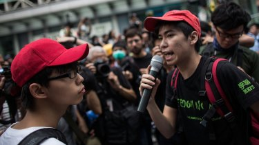 Student protest leaders Joshua Wong and Lester Shum.