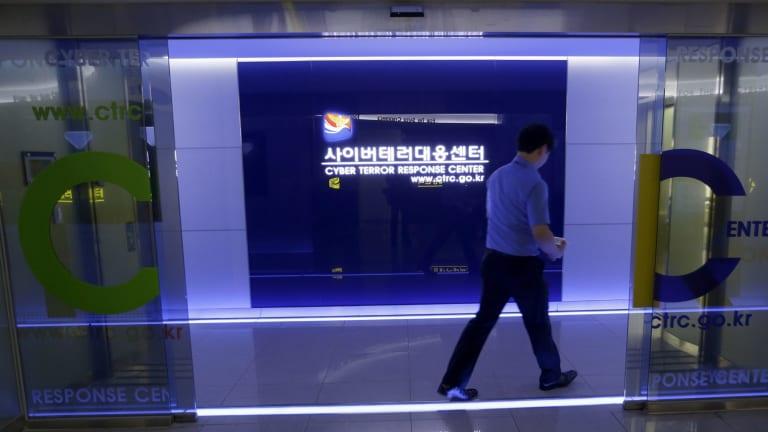 Asian target: A man walks past South Korea's Cyber Terror Response Center in Seoul.