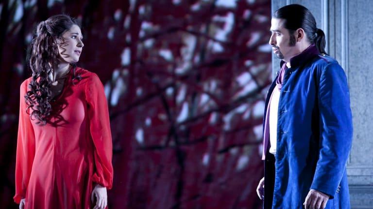Nicole Car as Tatyana and Dalibor Jenis as Onegin in Opera Australia's Eugene Onegin in 2014.