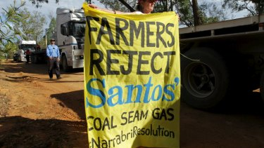 The Santos Narrabri CSG project has prompted protests.