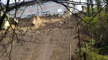 An apartment block on the edge of the landslide area in Switzerland's rain-drenched southern Ticino region.