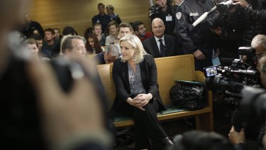 France's far-right National Front leader Marine Le Pen at her court hearing on Tuesday.