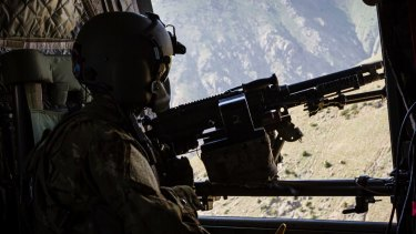 A US Army CH-47 Chinook over Afghanistan in June.