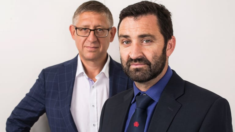 Waratahs CEO Andrew Hore, right with executive coach Jay Hedley.
