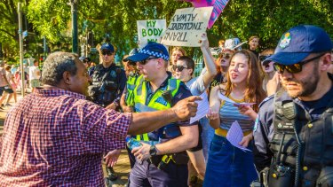 Protesters clashed outside Parliament House.