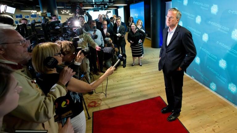 Former Florida governor Jeb Bush in statesman mode on a recent visit to Estonia.